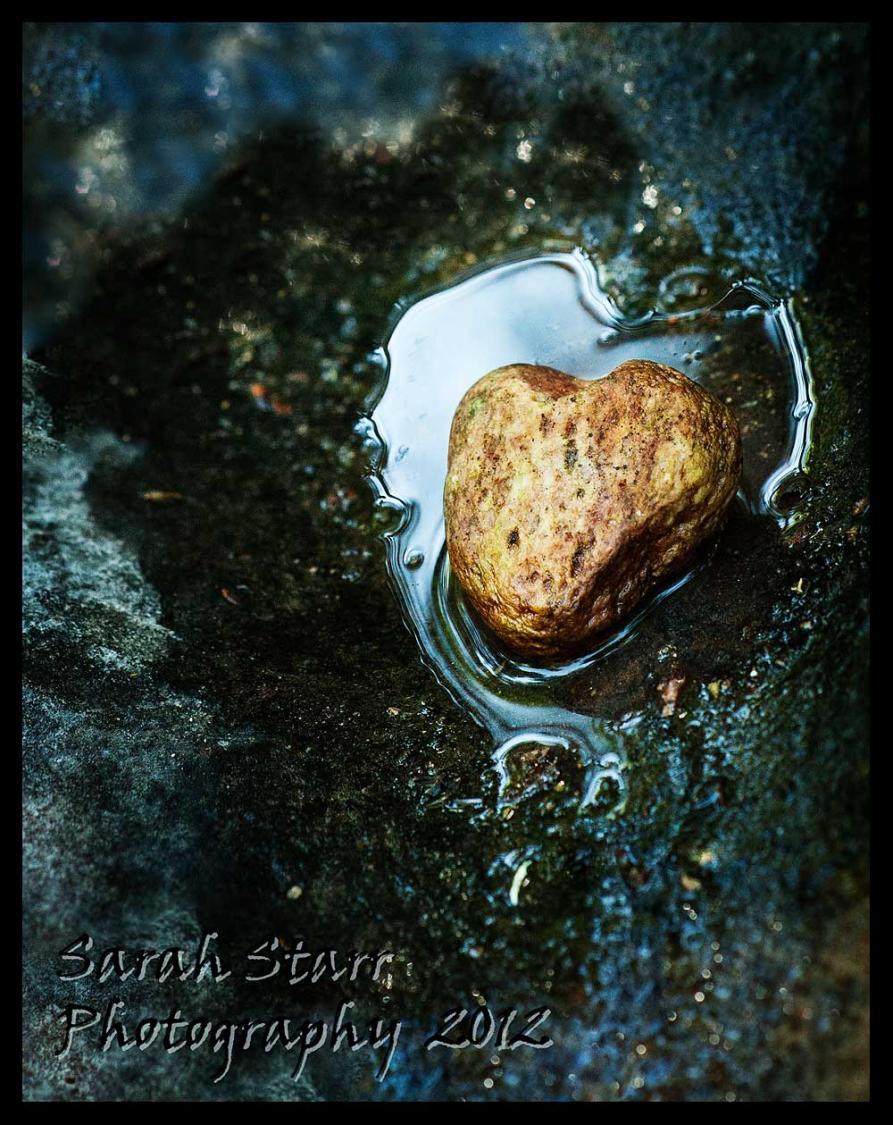 Heart rock in water